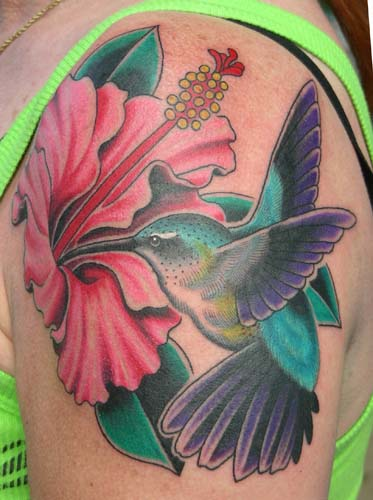 Hummingbird n Pink Flowers Tattoo On Back Shoulder