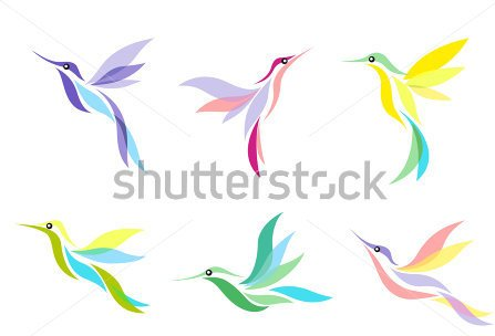 Hummingbirds Tattoo Set With Color Plumage Isolated On White Background