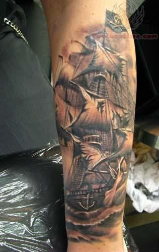 Impressive Grey Ink Nautical Star With Banner Tattoo On Arm