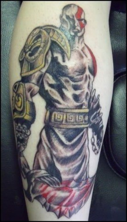Incredible Kratos Tattoo On The Back