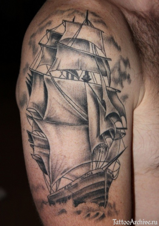 Incredible Sailing Ship Tattoo On Upper Arm