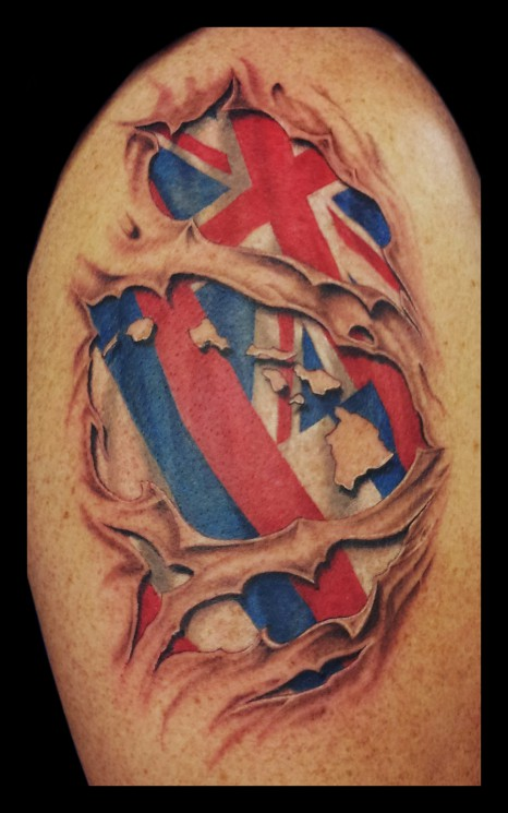 Incredible Torn Ripped Skin US Flag Tattoos On Muscles