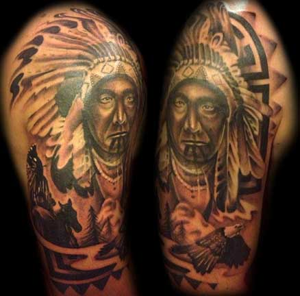 Indian Chief Portrait Tattoo Design