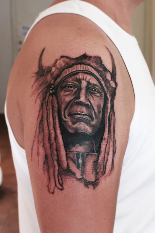 Indian Chief Tattoo On Biceps