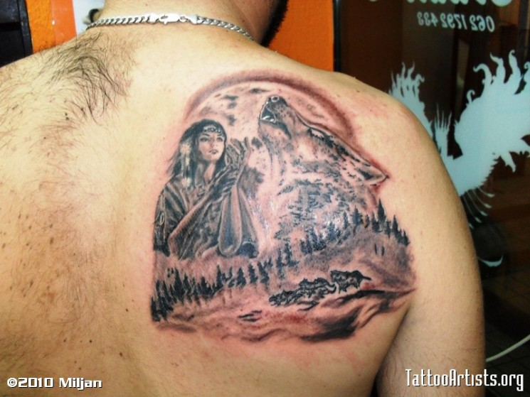 Indian Girl With Wolf Tattoo On Back Shoulder