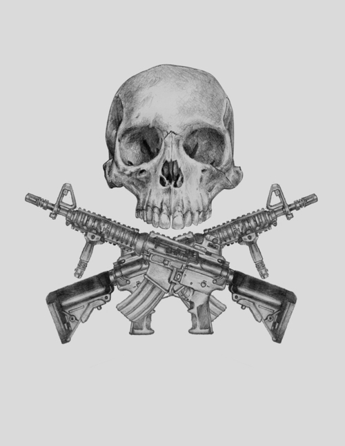 Infantry Military Rifles Tattoo Design