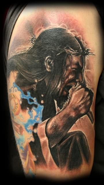 Injured Jesus Tattoo On Shoulder