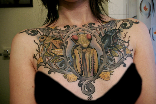 Insect Chest Piece Tattoo For Girls
