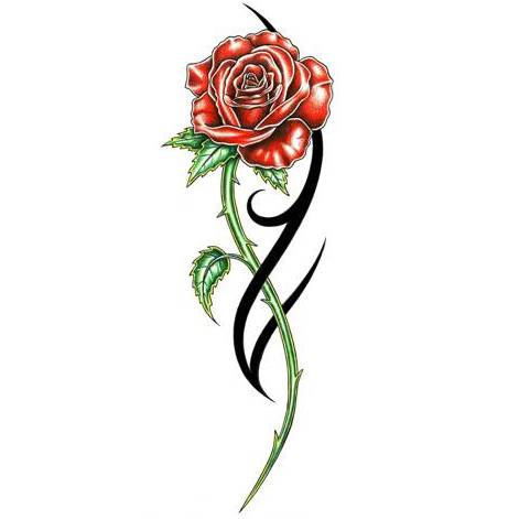 Insect On Rose Tattoo Design