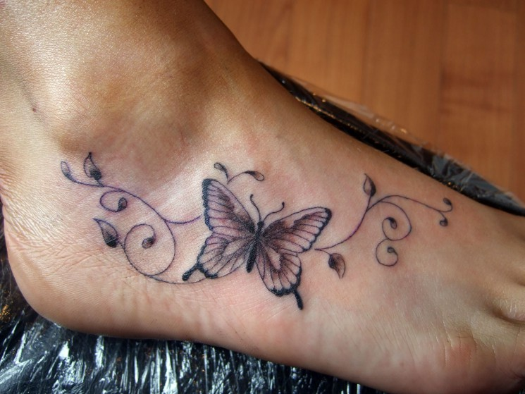 Ivy Flowers n Butterfly Tattoo On Foot
