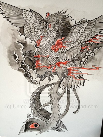 Japanese Clouds Phoenix And Flames Tattoos Design
