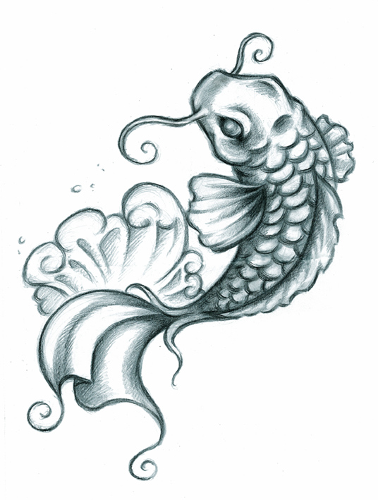 Japanese Fighting Fish Pisces And Flower Tattoos