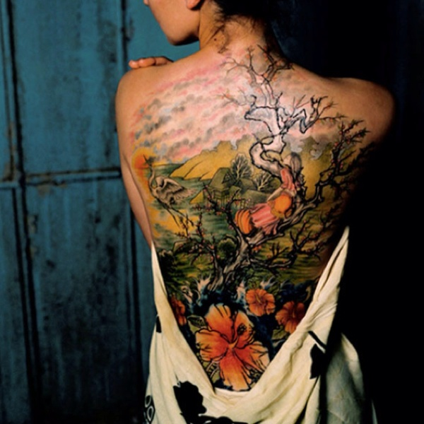 Japanese Flower and Kanji Tattoo Design On Back