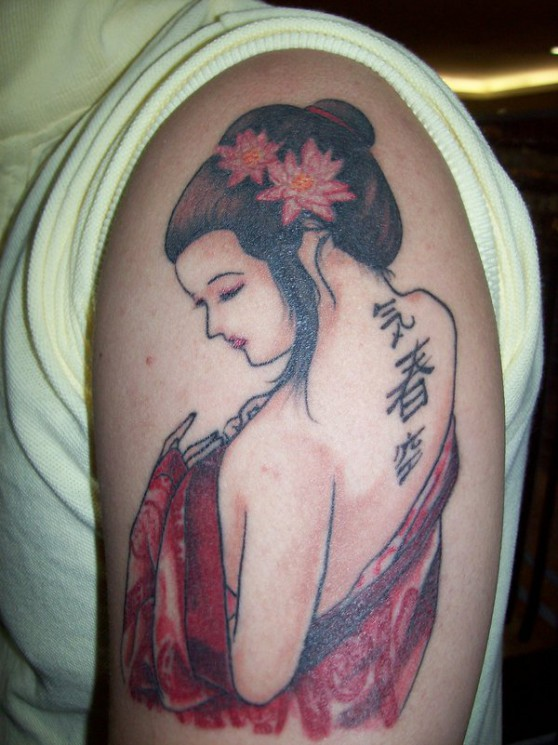Japanese Geisha Tattoo For Men On Shoulder