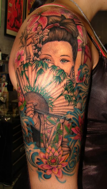 Japanese Geisha Tattoo On Sleeve For Girls