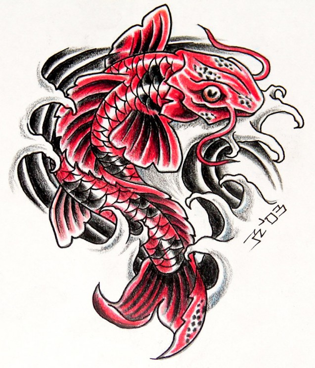 Japanese Koi Fish Arm Tattoo Design