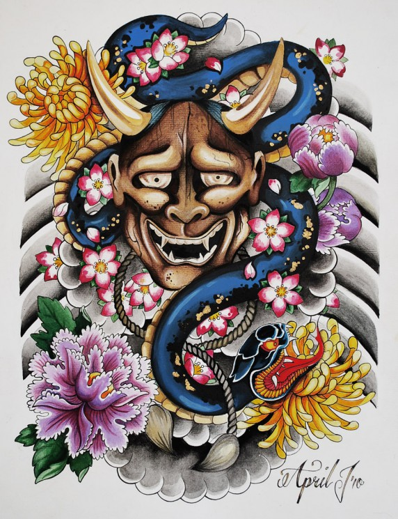 Japanese Mask Snake And Flower Tattoos On Ribs