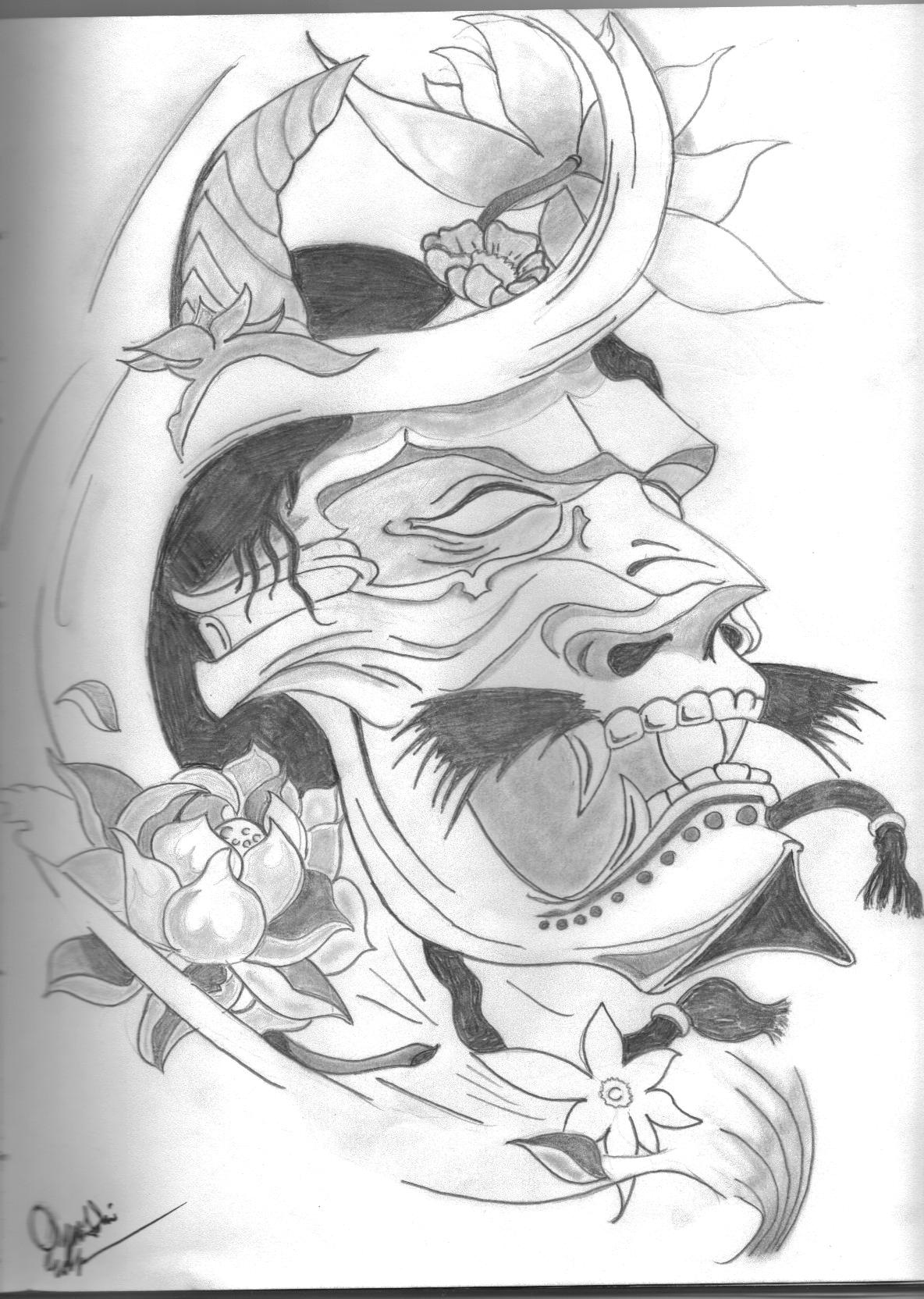 Japanese Mask Tattoo Drawing Photo 2 2017 Real Photo Pictures