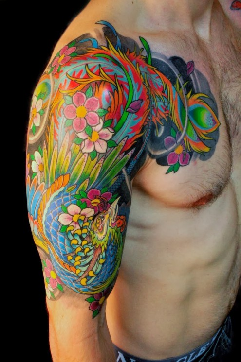 Japanese Phoenix Colorful Tattoo On Chest