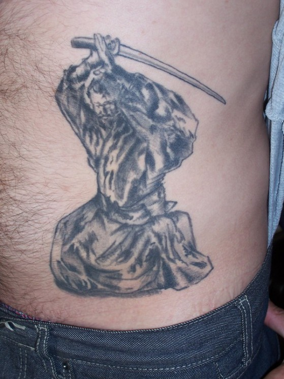 Japanese Samurai Tattoo On Waist