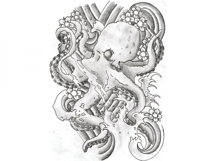 Japanese Style Octopus And Waves Tattoos On Sleeve