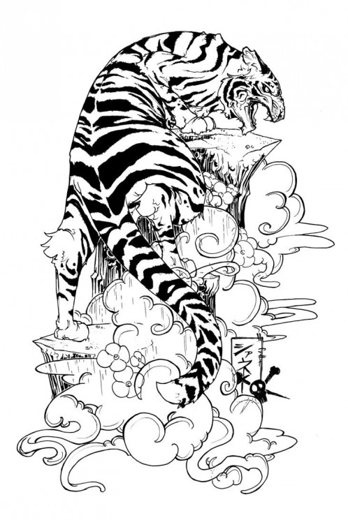 Japanese Tiger Tattoo Drawing