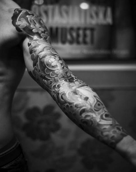Japanese Waves And Anchor Sleeve Tattoos