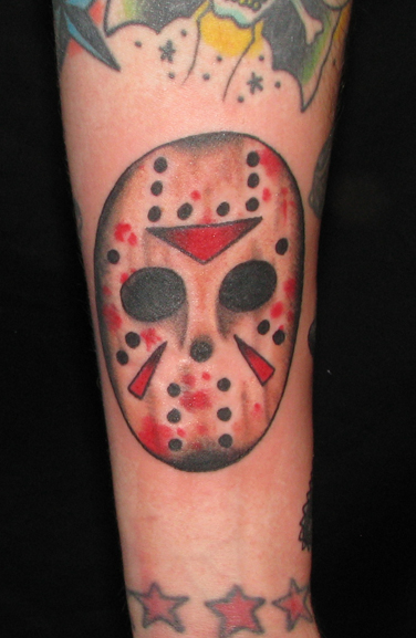 Jason Voorhees Horror Tattoo On Leg