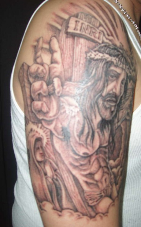 Jesus And Mary Tattoo On Right Sleeve