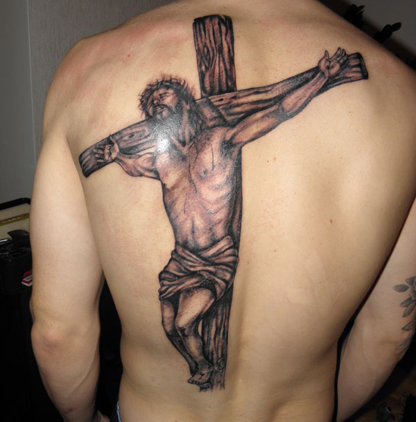 Jesus Crucifix Tattoo On Back