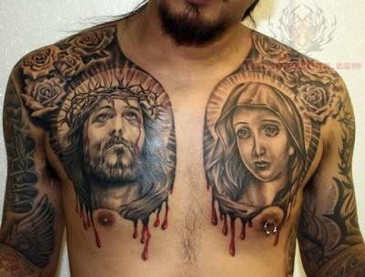 Jesus Virgin Mary Tattoo Design On Chest