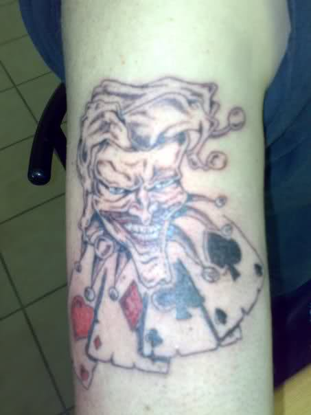 Joker n Cards Tattoo On Arm