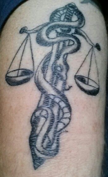 Justice Scale n Snake Tattoo Design