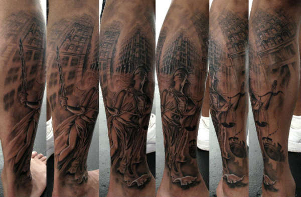 Justice Scales Tattoo On Back Of Leg