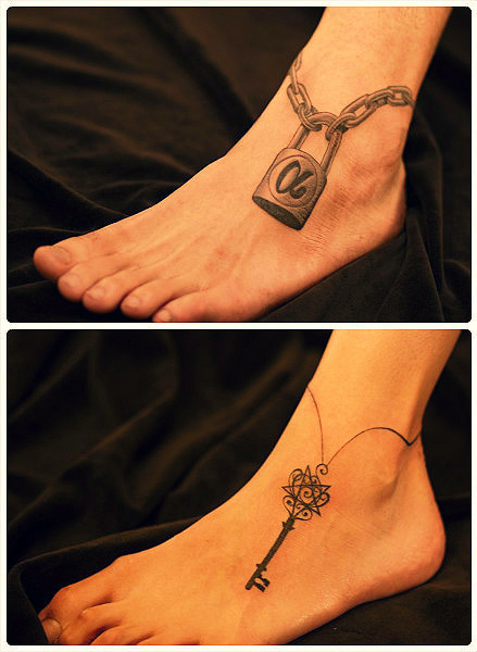 Key Tattoo On Ankles For Couple