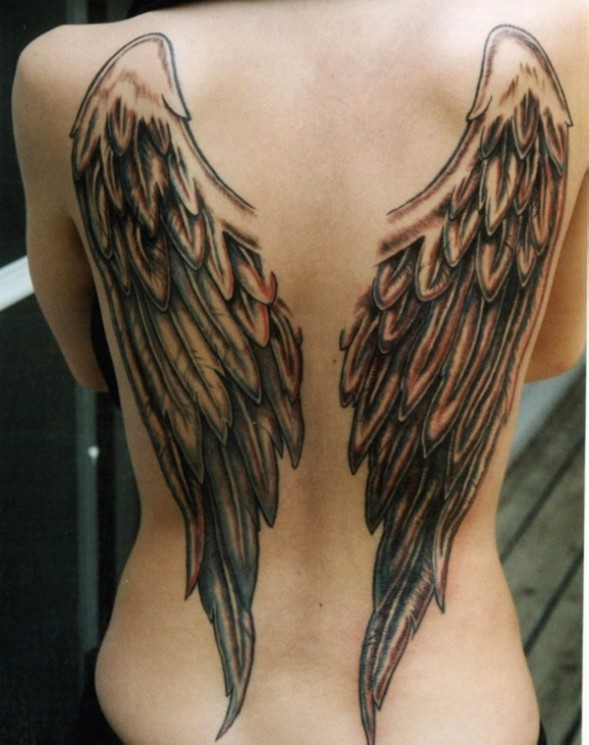 Kid Angels Tattoo On Womans Back