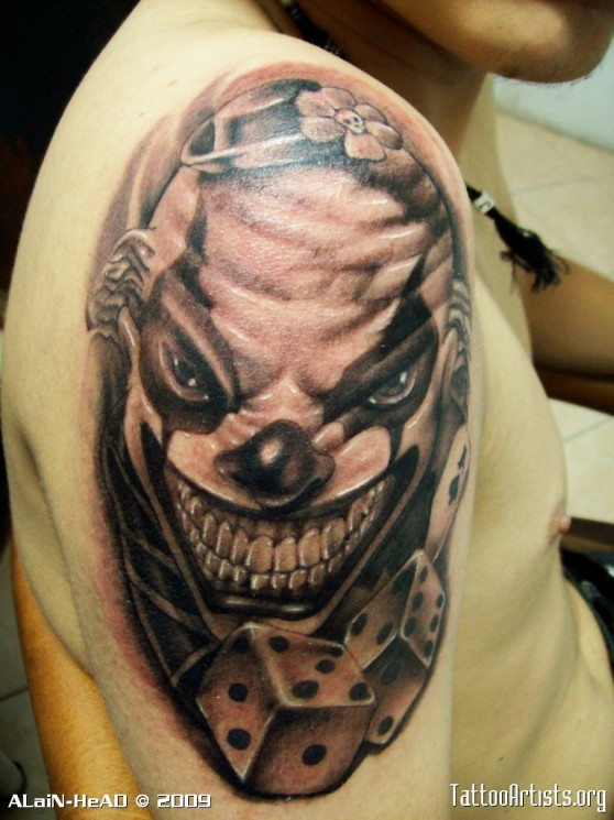 Laughing Clown With Cards Tattoo On Back Shoulder