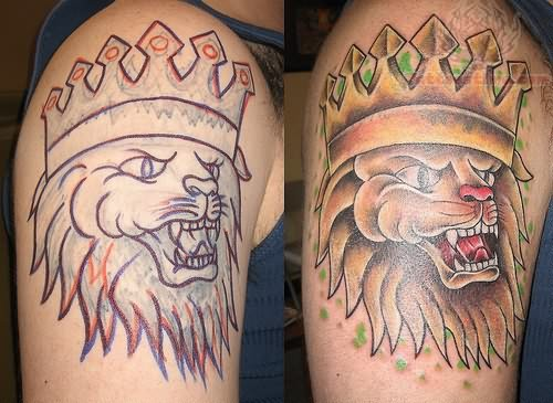 King Lion Tattoo On Muscles