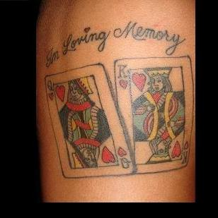 King Queen Of Hearts Gambling Card Tattoo Design