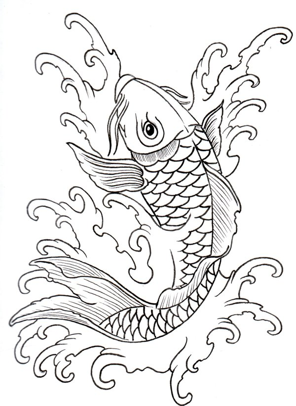 All Images To Koi Fish Lineart Tattoo Sample