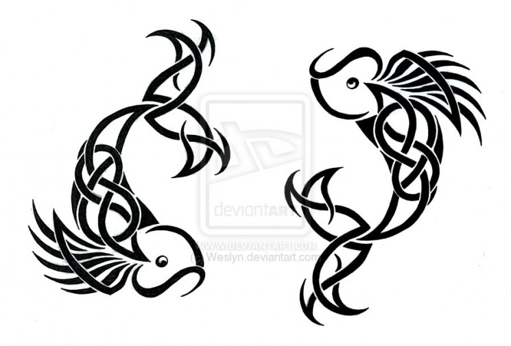 Koi Fish Pisces And Celtic Tattoos Sketch