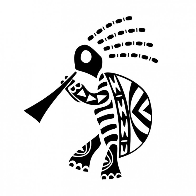 Kokopelli Turtle Tattoo Stencil