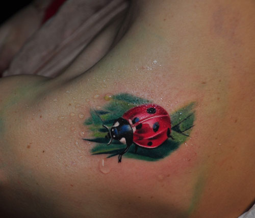 Lady Bug With Green Leaf Tattoo Graphic