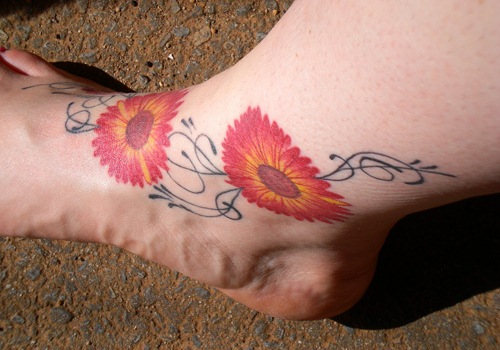 Lady Bugs Tattoo On Foot