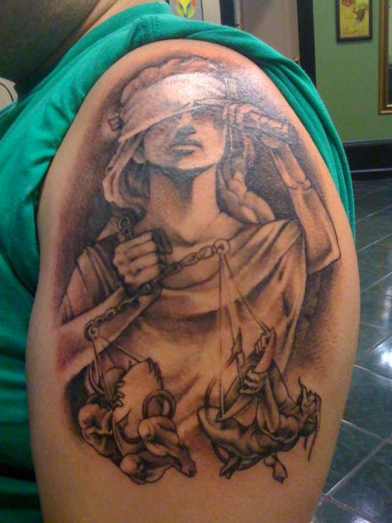 Lady Justice Tattoo On Shoulder For Guys