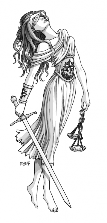 Lady Justice Tattoo Sketch