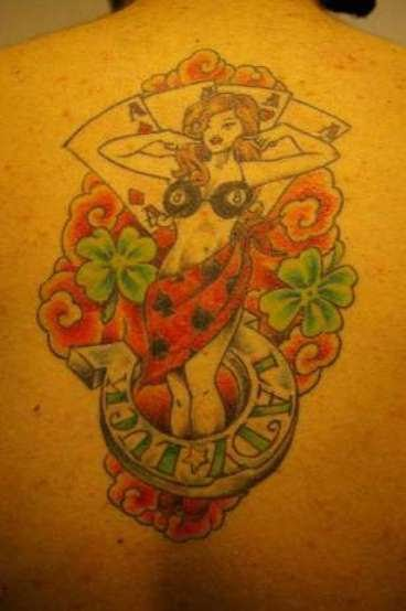 Lady Luck Tattoo On Back