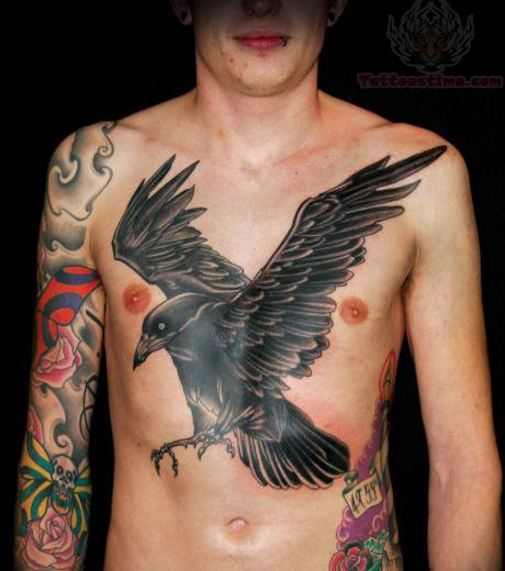 Large Black Crow Tattoo On Chest For Men