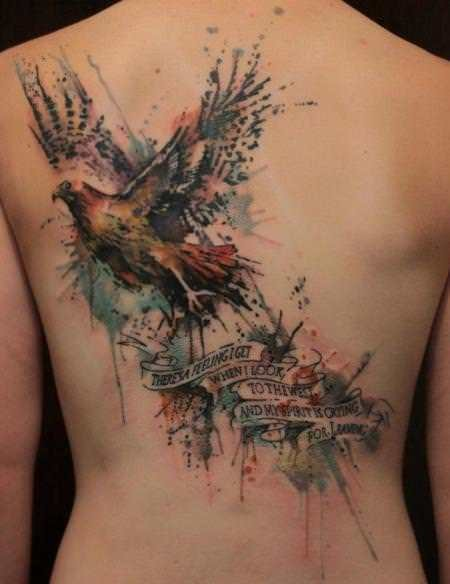 Large Colored Ship And Bird Tattoos On Back