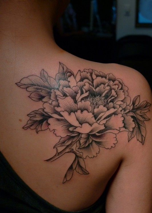 Large Flower Back Shoulder Tattoo